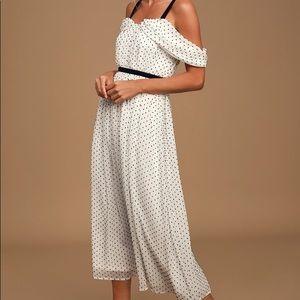 Lulus BW Swiss Dot Midi Dress